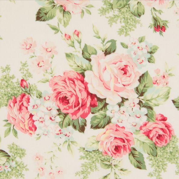 Bavlněná látka Růže velké krémové mentol Rose for You