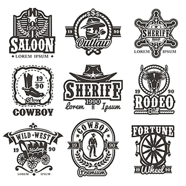Set Of Vector Wild West Logos Free Logo Design Template Western