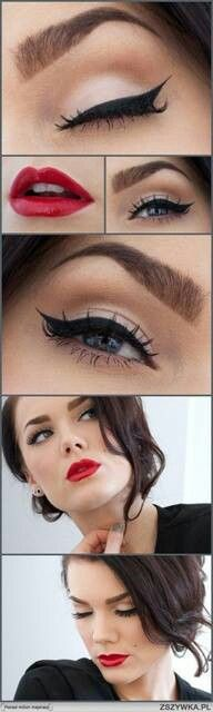 Cat like liquid eyeliner design with bright red lipstick