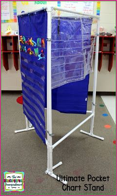 DIY 3 Sided Pocket Chart Stand - Directions and materials to buy at the blog post! Rather than spend $200 from a teacher catalog, you can make this for about $50