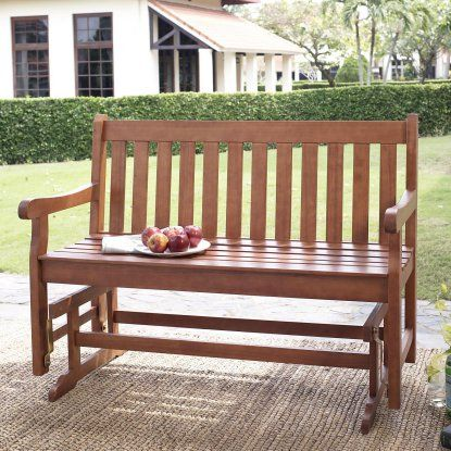 Coral Coast Amherst Straight Back 4 ft. Outdoor Wood Glider Loveseat - Natural