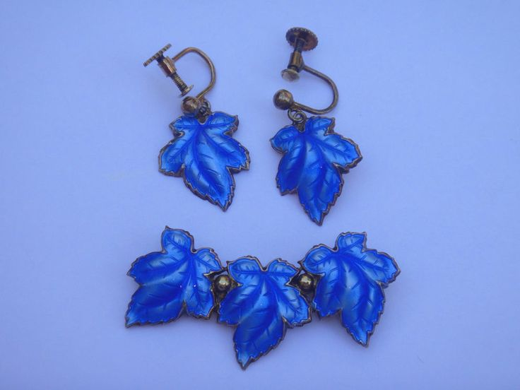 HANS MYHRE Norway STERLING Silver Blue GUILLOCHE ENAMEL LEAF brooch PIN set N/R