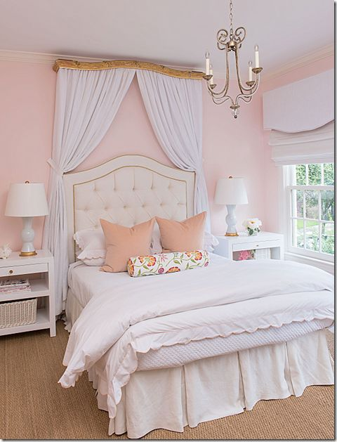 Ashley Goforth Design Pale pink headboard, white tufted headboard, gilt canopy