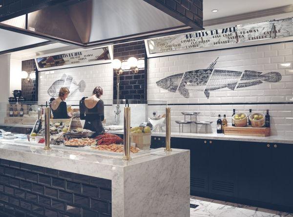 Creneau International › Café Belge®, Grand Café, lovely wall decor, fish, style, interior design, unique idea, gourmet