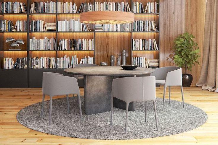 parquet massif, panneau en bois, bibliothèque et table à manger grise