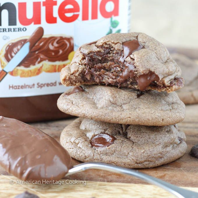 Soft Nutella Chocolate Chip Cookies by http://americanheritagecooking.com/2014/06/soft-nutella-chocolate-chip-cookies/