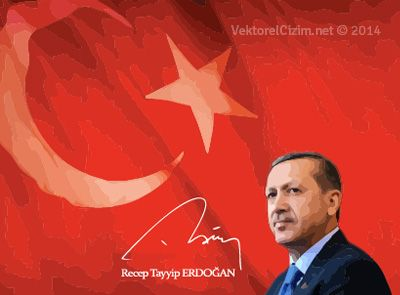 Vektörel Çizim | Cumhurbaşkanı Recep Tayyip Erdoğan, Türk Bayrağı