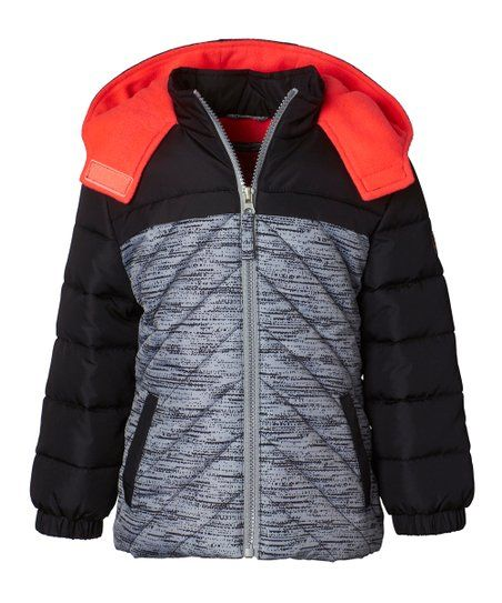 f33e89d893fa Black   Red Tonal Active Puffer Jacket - Girls