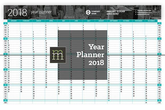 Year Planner 2018 (YP05) by mikhailmorosin on @creativemarket