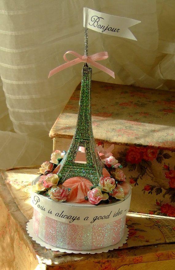 Paris Wish Box  Cake Topper by Vintageangeldesign on Etsy