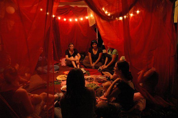 The Red Tent or Moon Lodge was a place where women would traditionally gather each month to meditate, share their experiences & channel wisdom for themselves & the wider community.  Women around the world are reclaiming this tradition to access the support of sisterhood during the time in the lunar cycle when women are most prone to spiral down.  To find out more, read this article: