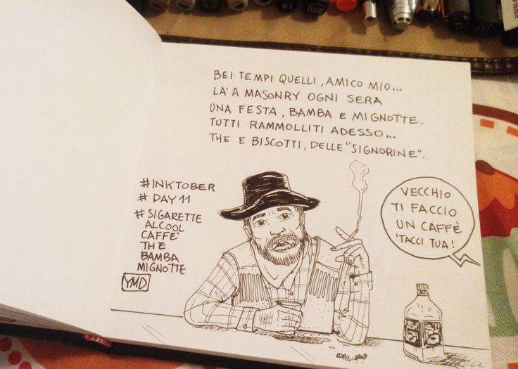 day 11 tema: sigarette, alcool, caffè, the, bamba e mignotte. #inktober #inktober2015 #day11 #sketchbook #illustration #illustrazione #massoneriacreativa #ink