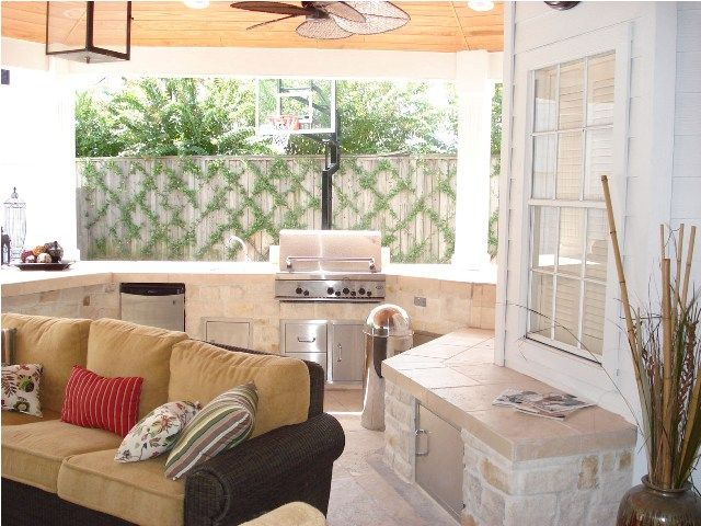 This houston outdoor living space comprises a covered - The living room lounge houston tx ...