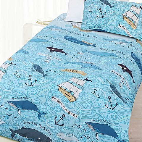 Pirate-lovers will adore the high-seas style of the blue Whales Glow in the Dark Quilt Cover Set from Happy Kids.