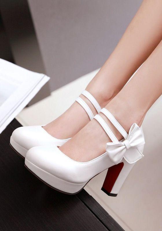 White Round Toe Chunky Bow Fashion High-Heeled Shoes