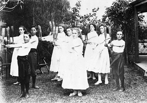 A group of children with callisthenic clubs. Mildura District, Victoria. 1902