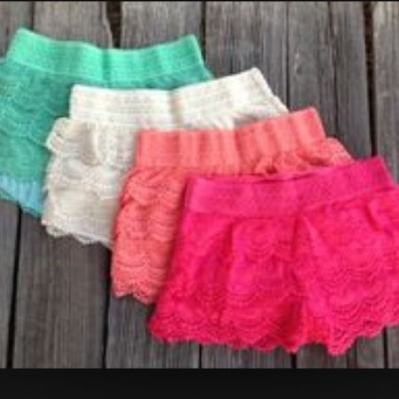 lace shorts SALE PLEASE DO NOT BUY THIS LISTING Beautiful fully lined lace shorts please let me know which color listing is only to show colors available price is for one PLEASE DO NOT BUY THIS LISTING WILL MAKE A PERSONALIZED LISTING WITH SIZE AND COLOR PEACH IS SOLD OUT Dresses