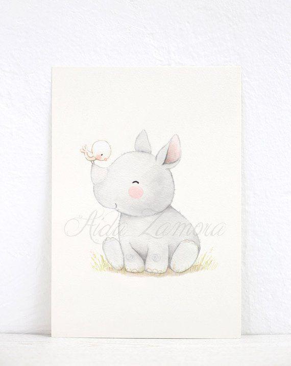 Nursery Art Baby Rhino Nursery Watercolor Print Rhino Nursery