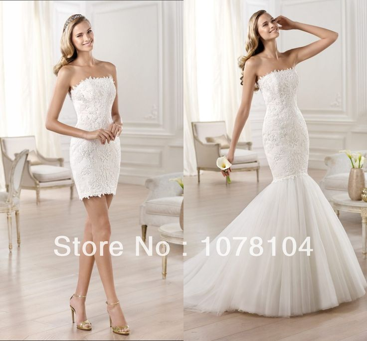 Stunning Scalloped Neckline Lace Appliqued Mermaid Detachable Skirt  Wedding Dresses Wedding Party Dresses 2014 US $198.00