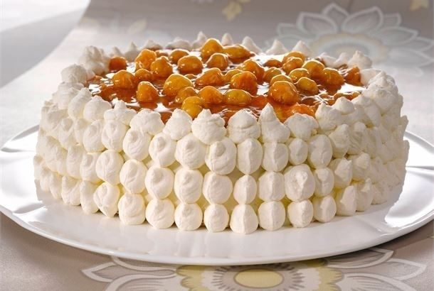 Traditional Finnish Lakkakakku (cloudberry cake).