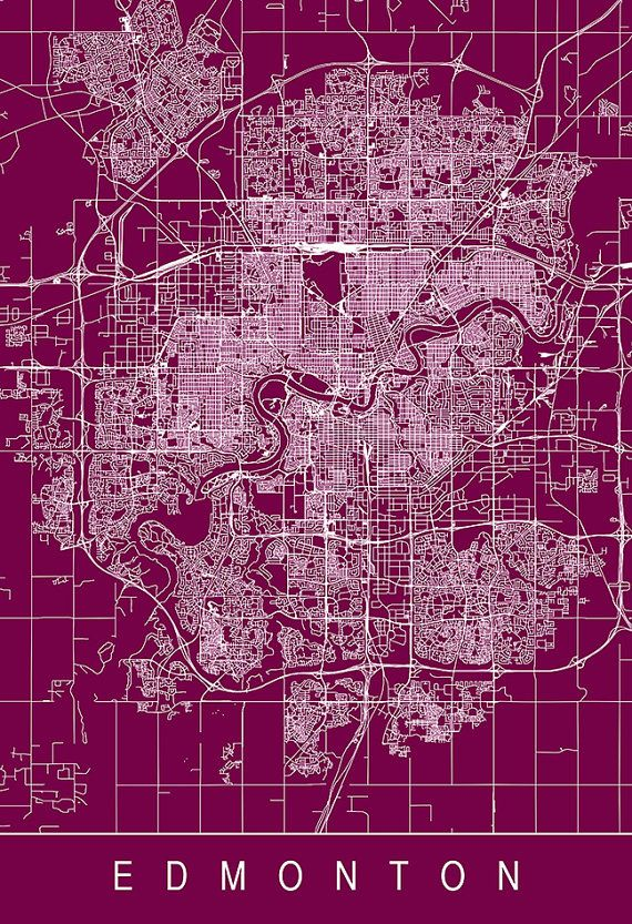 EDMONTON MAP PRINT Customizable City Map by EncoreDesignStudios
