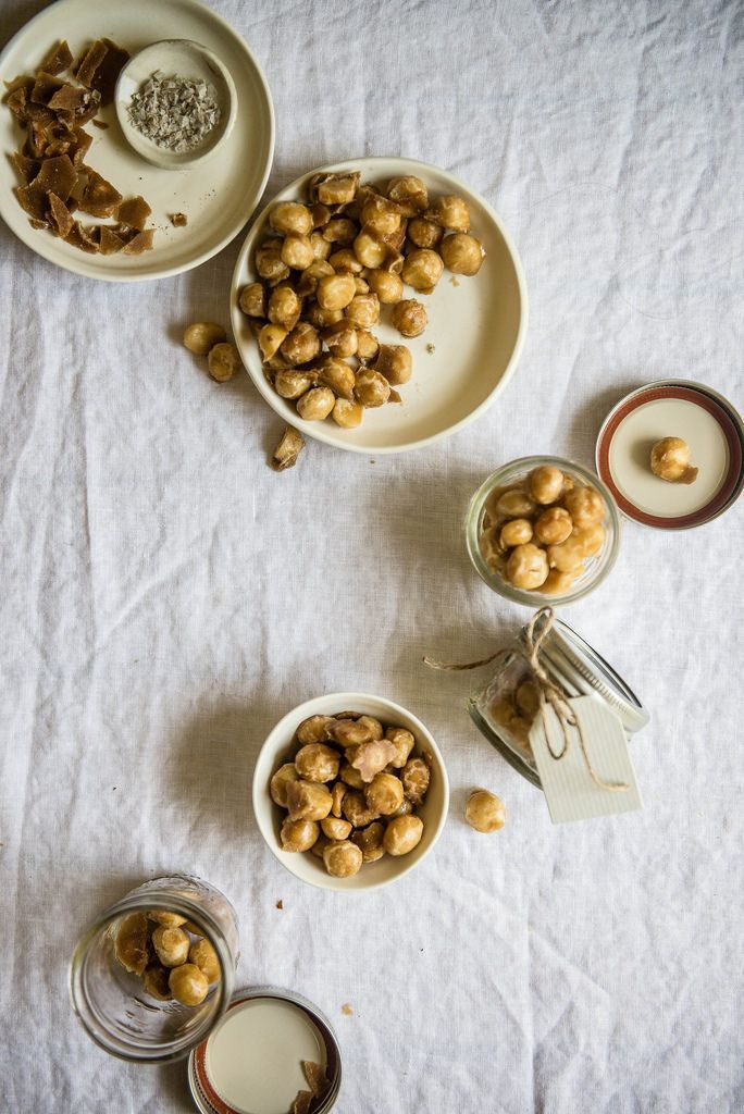 coffee-candied macadamia nuts   two red bowls