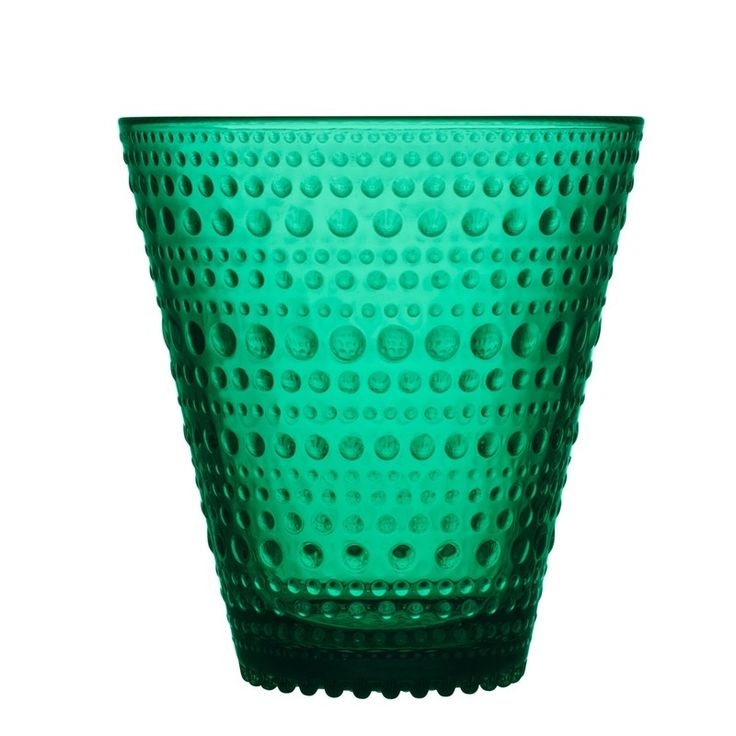 Iittala Kastehelmi Tumblers are available in 5 colour tones, 3 to match the existing ranges and 1 extra being Desert & New rich Emerald. The Kastehelmi range of glassware was designed in 1964 by Oiva Toikka. Kastehelmi was one of Toikka's most popular designs and Iittala reintroduced a selection of the most popular pieces in 2010. These tumblers are a new addition to compliment this playful and textural range.  Kastehelmi, brings a touch of interest to everyday moments with it's unqiue…