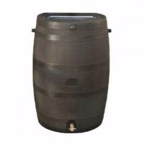 50-Gallon Brown Rain Water Barrel with Brass Spigot