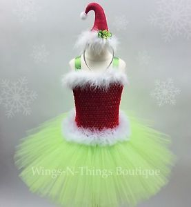 Christmas Grinch Costume Tutu Dress Set Santa Headband 1/2T 1T 2T Toddler Girl