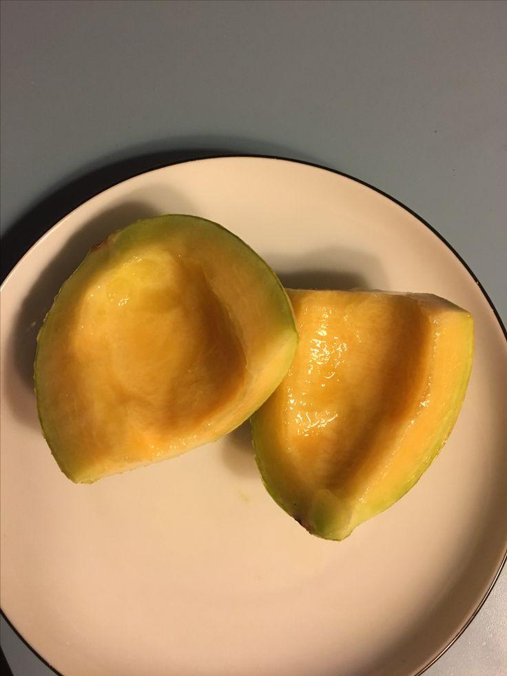 En melon fra eget drivhus.