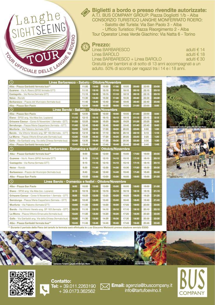 Langhe Sightseeing Tour Orari  #langhe #buslanghe #tourlanghe #sightseeing #langhe