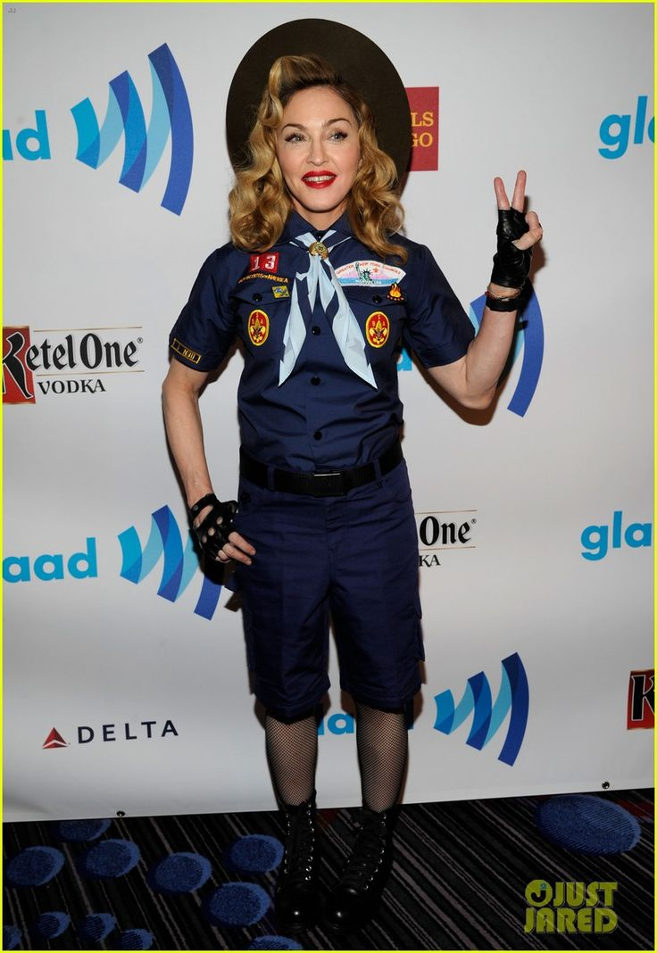 """Madonna: Boy Scout Costume at GLAAD Media Awards 2013    Can we say: """"Trying too hard?"""""""