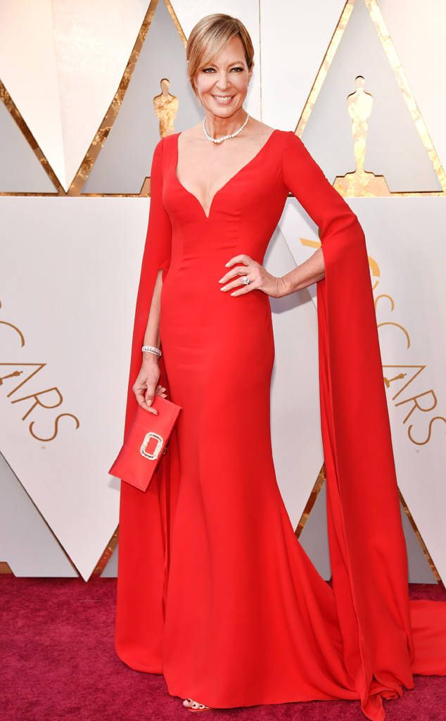 Allison Janney from Standout Style Moments From Oscars 2018  The I, Tonya actress radiated in a fire-engine red Reem Acra dress with exaggerated sleeves and a matching clutch.