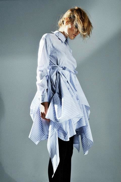 Dress refashioned from recycled & repurposed men's shirts - sustainable fashion design; eco fashion; upcycled clothing