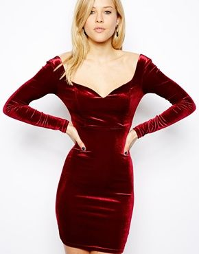 ASOS Velvet Sweetheart Bodycon Dress now if I could find this top with a long flowing bottom in my size