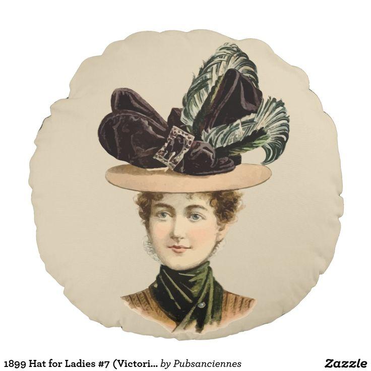 Chapeau 1899 pour les dames #7 (ère victorienne) coussin rond