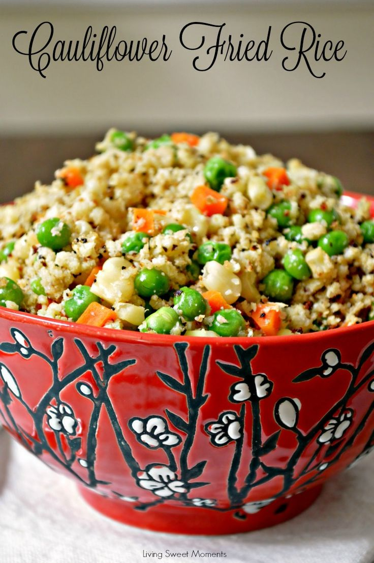 Cauliflower Fried Rice Recipe - Healthy, low-carb, and seriously tasty! Tastes so much like the Chinese takeout but without the guilt. Perfect healthy side dish.