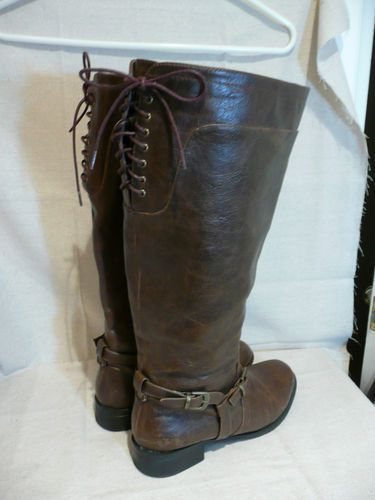 f629db63514 Steampunk Plus Size Women s Extra Wide Calf Brown Corset Laced Boots Size  8M