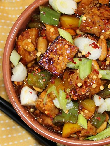 Kung Pao Tofu- I made this and it was great. Make sure you use a large enough cooking vessel though, because otherwise you won't have room to flip the tofu.