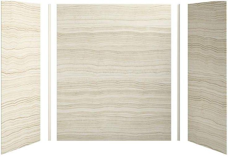"Kohler K-97618 Choreograph 60"" x 32"" x 72"" Three Panel Shower Wall Kit VeinCut Biscuit Showers Shower Walls Wall Kit"