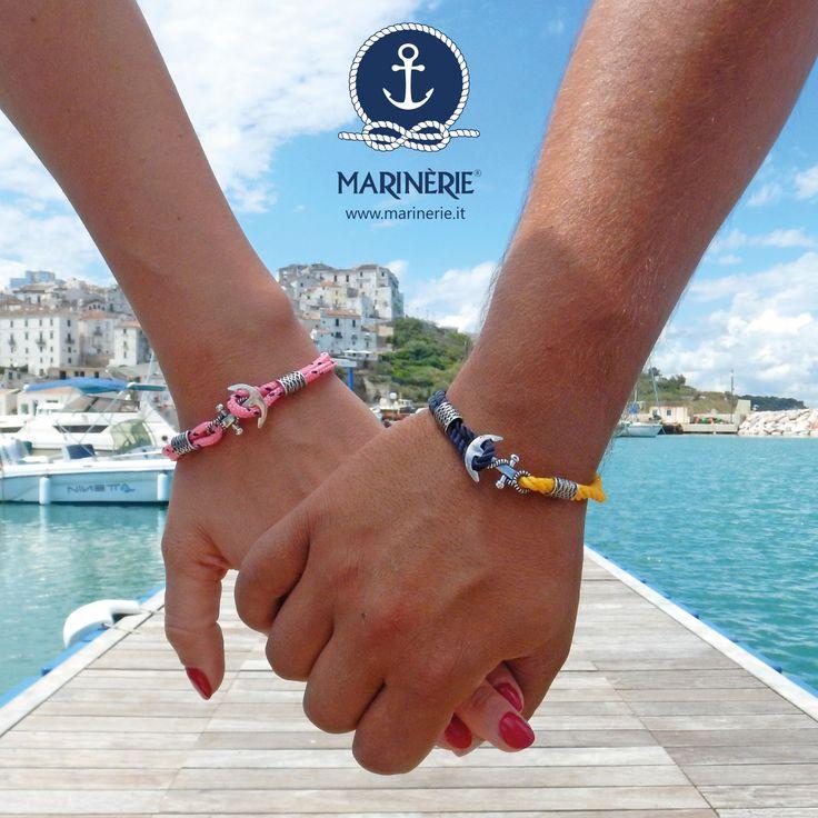 Un bracciale per lui e un bracciale per lei. Visita il sito www.marinerie.it e personalizza il bracciale con i tanti colori disponibili di cordini nautici.  #marinèrie #marinadirodigargnaico #vivilestate #braccialiancora #braccialitimone #braccialirosadeiventi #stilenavy #stilemarinèrie