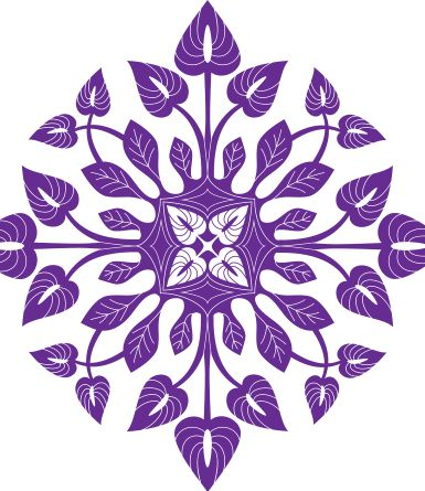 Purple Anthurium Hawaiian Quilt Design- vector
