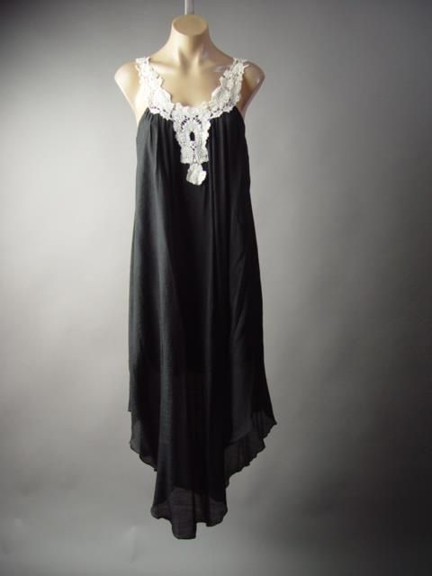 Crochet Strap Dark Boho Wicca Black Gauzy Long Slip Gown Sack 192 mv Dress S M L #Unbranded #AsymmetricalHem #Casual