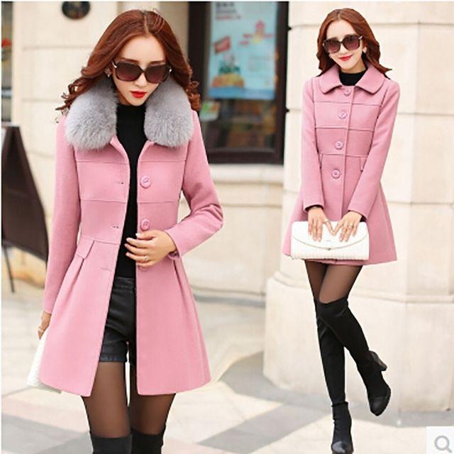 Новый 2015 мода зимняя куртка женщины сгущает длинный шерстяной пальто  корейский тонкий парка съемный меховой воротник бесплатная доставка