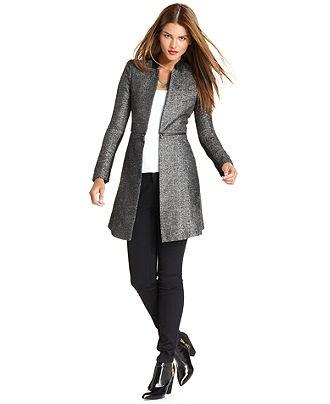 BCBGMAXAZRIA Coat, Arelia Metallic Tweed Light-Weight - Womens Coats - Macy's