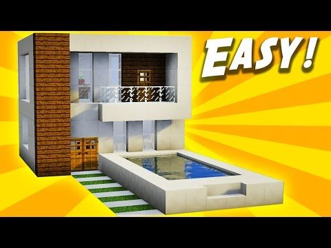 minecraft simple easy modern house tutorial how to build 19 youtube