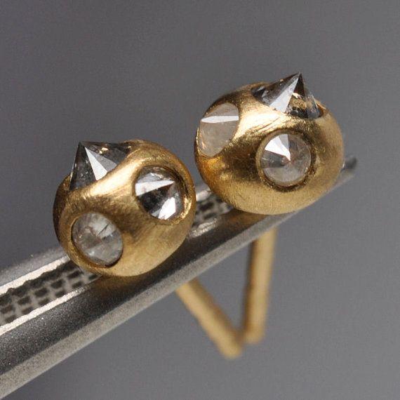 natural silver diamond earrings 18k gold by Onestonenewyork, $495.00