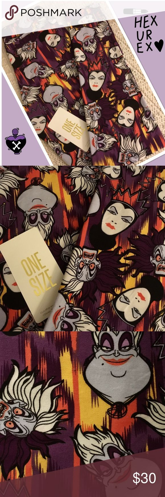 🖤Disney Villains! LulaRoe One Size Leggings!🖤 🖤LulaRoe Disney One Size Leggings ~ The  She-Villains! ~ These bottoms have a deep purple and fiery base that's full of femme fatales - Queen Grimhilde, Cruella, and even Ursula! ~ Who said princesses always prevail?🖤 *Cross posted to another site  All leggings are bought new from consultants and arrive with and without tags. Each pair is inspected and never, ever worn!:-) LuLaRoe Pants Leggings