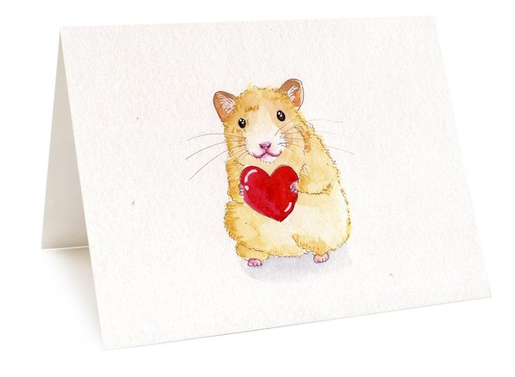 I Give You My Heart Hamster Card, Cute Animal Card Mouse Card Anniversary Engagement Friendship Card I Love You Card For Lover Red Heart