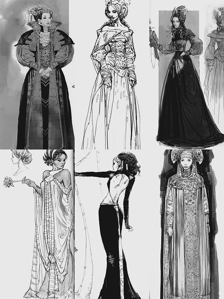 Concept art for Padmé Amidala's costumes in Attack of the Clones